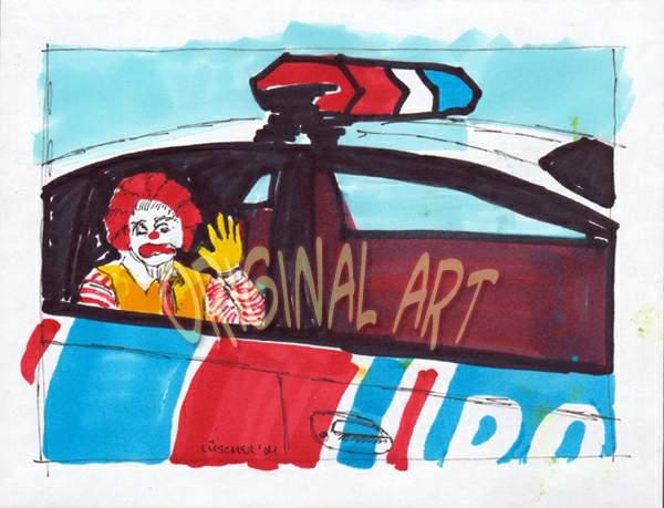 Bad Ronald in cop car