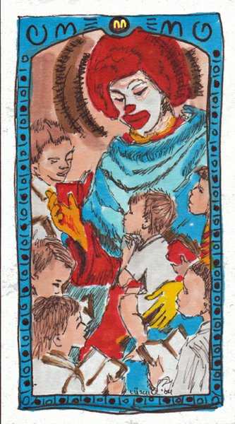 Bad Clown Ronald prayer card