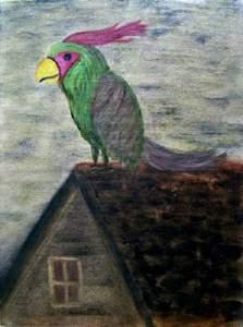 bird as God, on roof