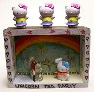 Unicorn Tea Party shrine / assemblage - front view